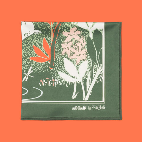 Design pocket square, Moomin pattern, green, red, Tove Jansson, pond, leaves, grass, dragonfly