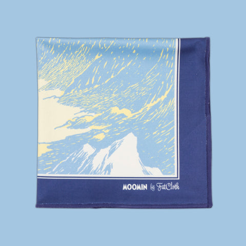 Design pocket square, Moomin pattern, space, planets, hobgoblin, wizard, blue, orange, pink, peach, Tove Jansson