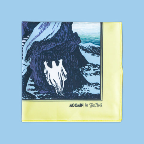 Design pocket square, Moomin pattern, blue, yellow, Tove Jansson, pond, ghost, lighthouse, island, sea