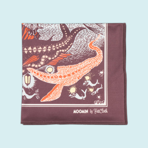 Design pocket square, Moomin pattern, light blue, burgundy, maroon, red, orange, fish, submarine, Tove Jansson