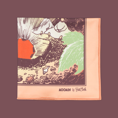 Design pocket square, Moomin pattern, ruby, Thingumy & Bob, secret, burgundy, maroon, shine, gem, red, green, peach, Tove Jansson