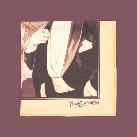 Flirt, multipurpose pocket square, Art Nouveau, Alphonse Mucha, peachy beige, brown