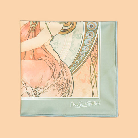 Painting, multipurpose pocket square, Art Nouveau, Alphonse Mucha, pale green, old rose, orange