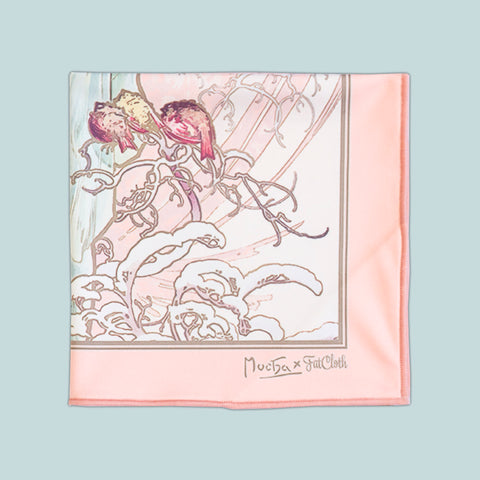 Winter, multipurpose pocket square, Art Nouveau, Alphonse Mucha, pink and mint green