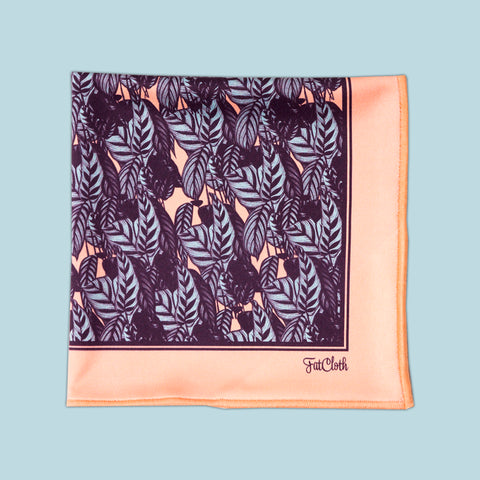 Design pocket square, leaf pattern, peach, powder, light blue, plum