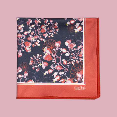 Design pocket square, floral pattern, tricolor, blue, red, white, pink