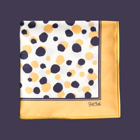 Design pocket square, dot pattern, yellow, white, dark plum grey