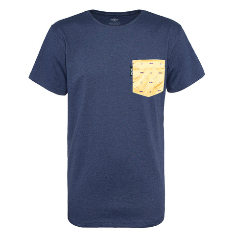 Pocket T-shirt dark blue melange, gold yellow pocket, recycled, sustainable