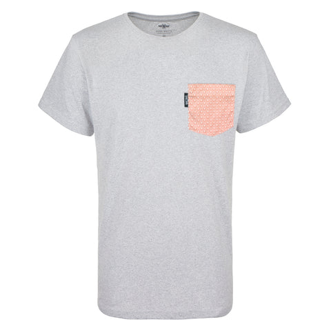 Pocket T-shirt grey melange, red & white Japanese Seigaiha pocket, recycled, sustainable