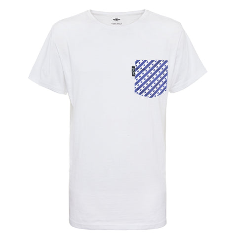 Pocket T-shirt white, dark blue striped pocket, recycled, sustainable