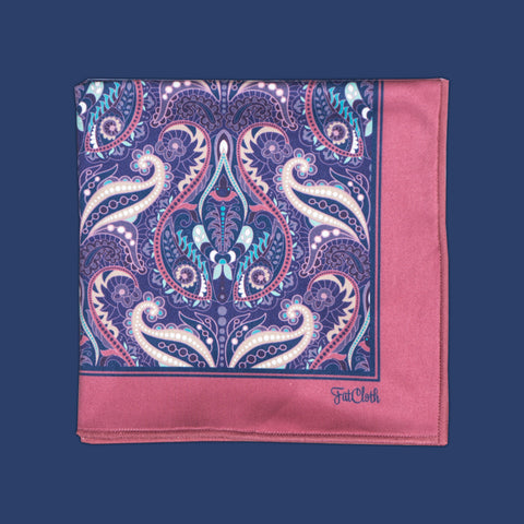 Design pocket square, oriental pattern, paisley, wallpaper, India, paisley, pink, blue, purple