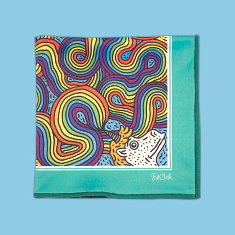 Design pocket square, rainbow pattern, cartoon, unicorn, Monday