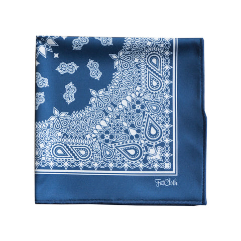 Design pocket square, bandana pattern, blue, white, crips