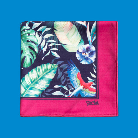 Design pocket square, nature book pattern, leaves, parrots, magenta, dark blue