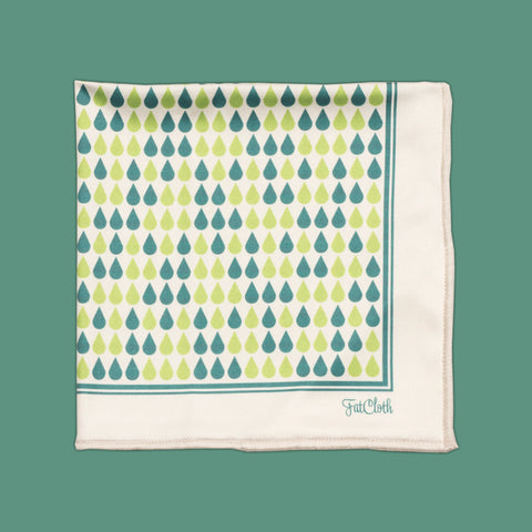 Design pocket square, drop pattern, green, white