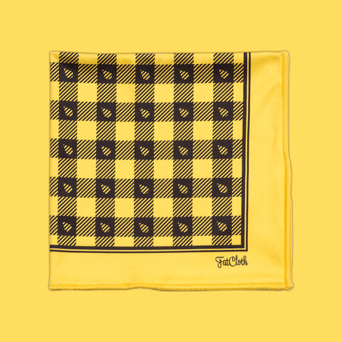 Design pocket square, lumberjack pattern, tartan, grid, yellow, black