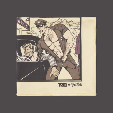 Design pocket square, Tom of Finland, comic, beige, brown, maroon, boys, car, truck, hitchhike