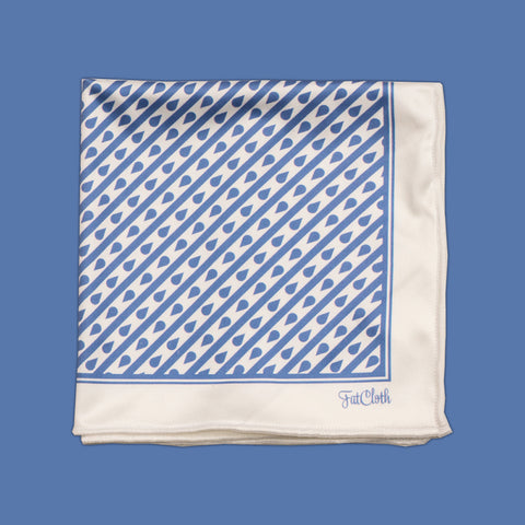 Design pocket square, line pattern, drop, blue, white