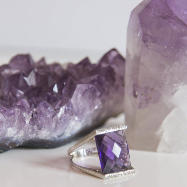 Faceted Amethyst Ring - Size 8 - mycrystalcrushmycrystalcrush