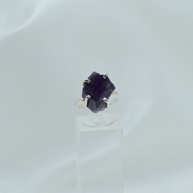 Raw Amethyst Ring - One size adjustable - mycrystalcrushmycrystalcrush
