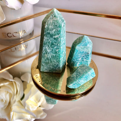 Amazonite Crystal Points (Brazil) - Set - mycrystalcrushmycrystalcrush