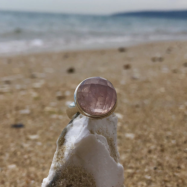 Faceted Rose Quartz Ring - mycrystalcrushMyCrystalCrush