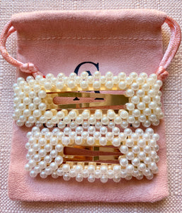 2PCS SQUARE PEARL HAIR CLIPS