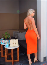 Load image into Gallery viewer, ORANGE STRAPPY BACKLESS DRESS