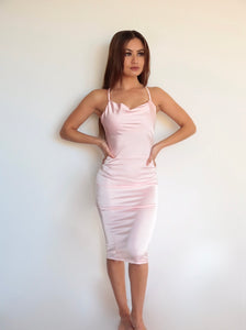 DRAPE NECK BODYCON DRESS - BLUSH