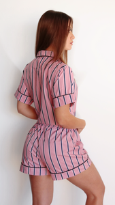 STRIPPED PINK PJ SHORT SET