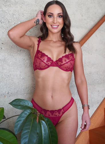 ROSE FLORA LACE BRA SET