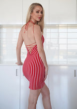 Load image into Gallery viewer, STRIPEY LACE UP DRESS