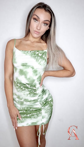 LIME DYE RUCHED DRESS