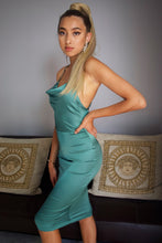 Load image into Gallery viewer, DRAPE NECK BODYCON DRESS - EMERALD