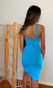 EMBELLISHED BLUE BODYCON MINI DRESS