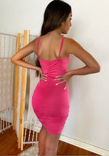 Load image into Gallery viewer, EMBELLISHED PINK BODYCON MINI DRESS