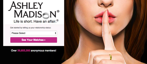 Screenshot from the Ashley Madison website