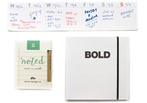 Scribe Bundle: Stick Up Weekly Calendar, Mine Design Noted Candle - Field Guide, Poketo Bold Font Family Notebook | Room 2046 Toronto Canada