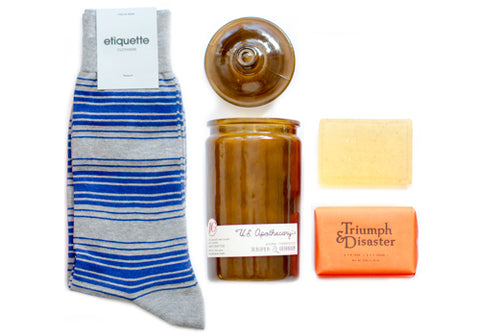 Gent's Bundle: Etiquette Socks, US Apothecary Candle, Triumph & Disaster Soap | Room 2046 Toronto Canada