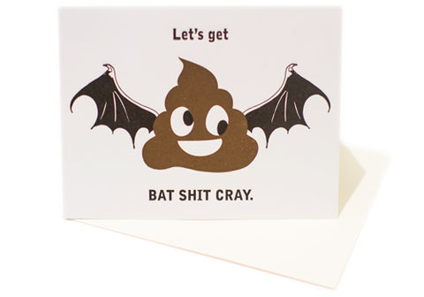 Back Room 2046 Bat Shit Cray Letterpress Card | Room 2046 Toronto Canada