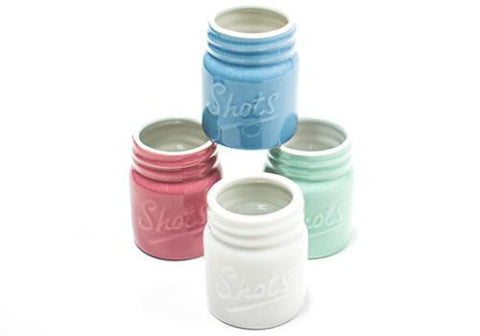 Barbuzzo Mason Jar Ceramic Shot Glasses available from Room 2046 cafe shop studio Toronto Canada