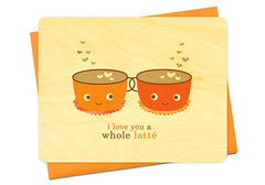 Night Owl Paper Goods Love You Latte Wooden Card | Room 2046 Toronto Canada