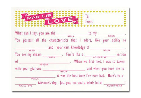 Flakes Paperie Love Mad Lib Card | Room 2046 Toronto Canada