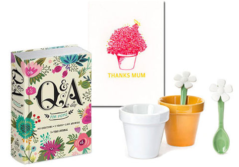 Q & A a Day for Moms, Kikkerland Flower Pot Espresso Cups, Papillon Press Thanks Mum Greeting Card