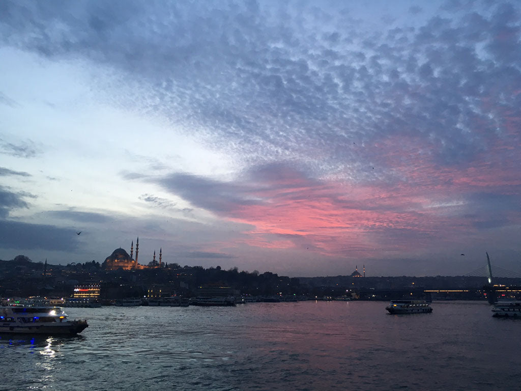 Beautiful pink sunset over the Bosphorus in Istanbul