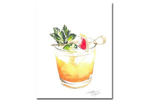 Niki Kingsmill Mai Tai Watercolour Print - 8x10 available from Room 2046 cafe shop studio Summerhill Toronto Canada