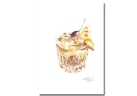 Niki Kingsmill Old Fashioned cocktail drink watercolour print art available from Room 2046 cafe shop studio Toronto Canada
