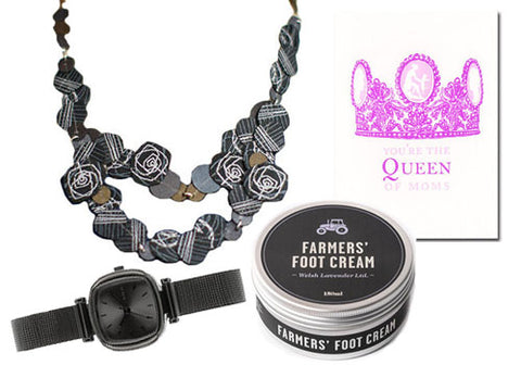 dos riberas Fabric Flower Necklace, Komono Moneypenny Royale Gun Metal Watch, Farmers' Lavender Foot Cream, Papillion Press Queen of Moms Greeting Card