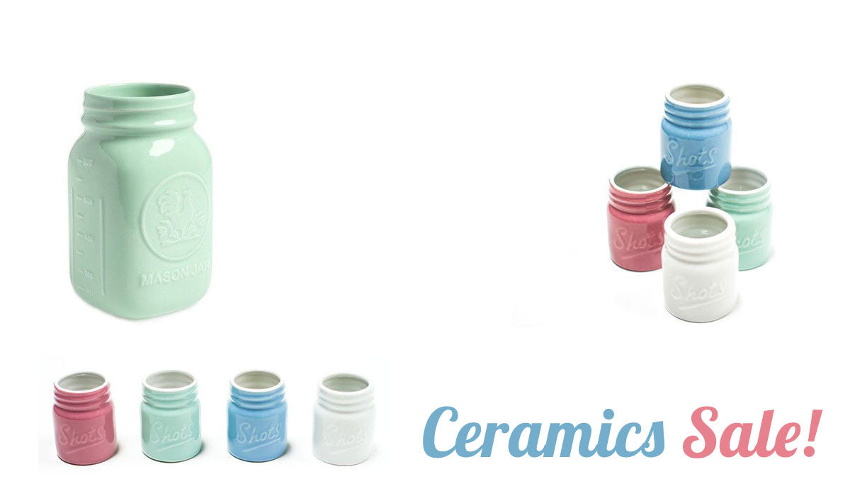 Ceramics sale at Room 2046! Including mint mason jars by Fishs Eddy
