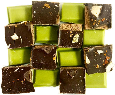 Matcha and dark chocolates from Room 2046 cafe on Yonge and Summerhill in Toronto